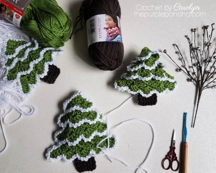 Frosted crochet christmas tree ornament