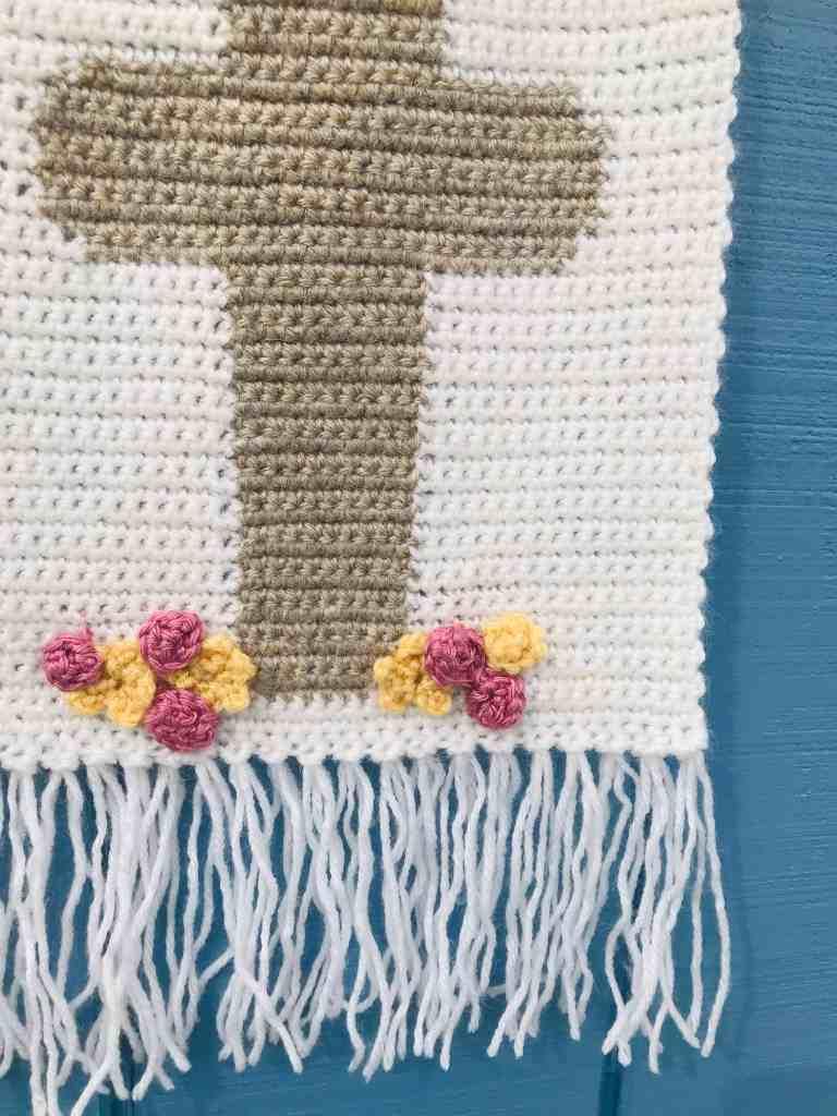 Easter crochet cross wall hanging