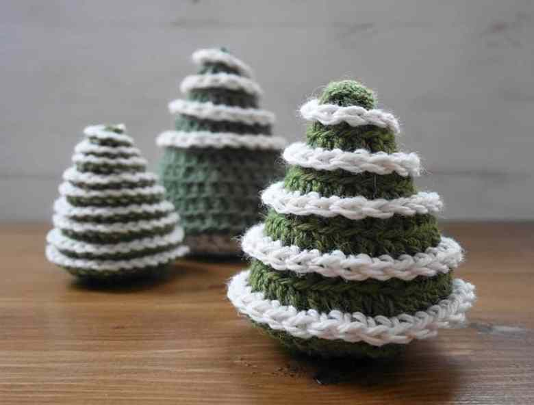 Frosted Crochet Cone Christmas Tree