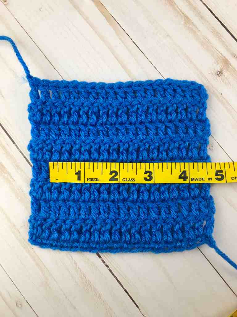 Measuring a double crochet gauge swatch