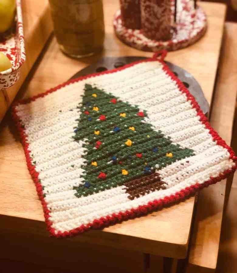 Tapestry Crochet Tree Potholder