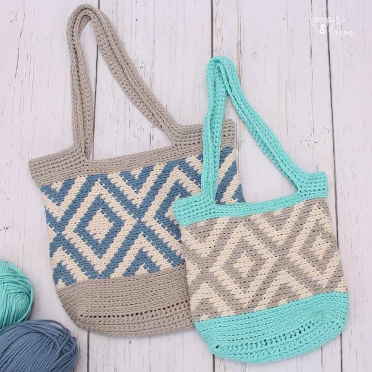 Crochet diamond Tote Bag