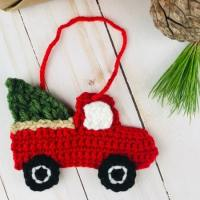 FREE Red Truck Crochet Pattern - Christmas Ornament/Applique!