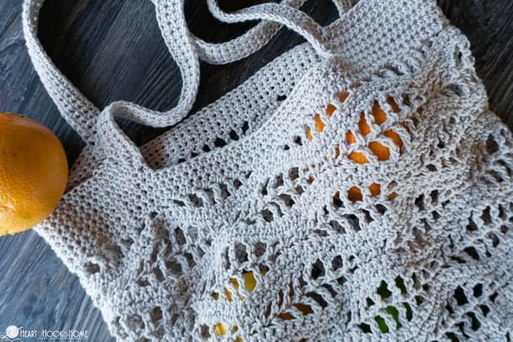 Wave crochet market bag pattern