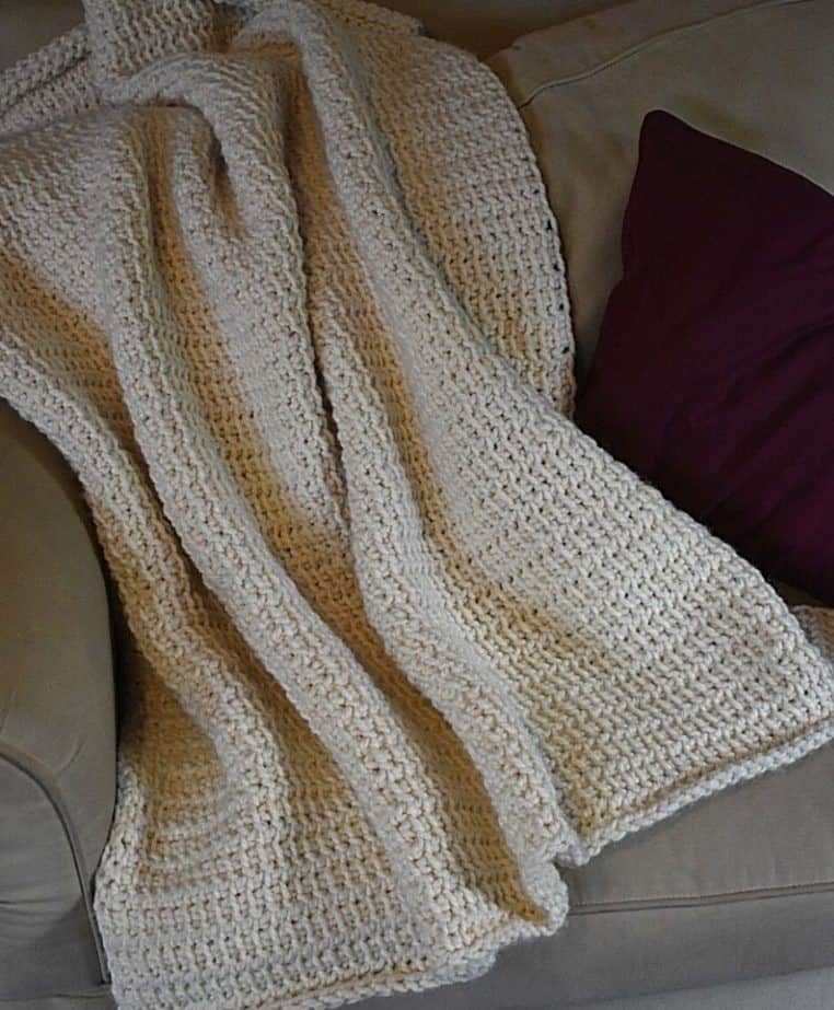Tunisian crochet blanket with Wool Ease Thick & Quick