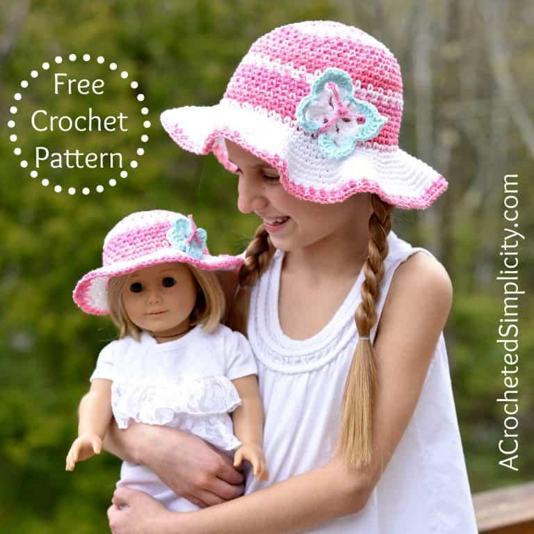crochet sunhat for girl and doll