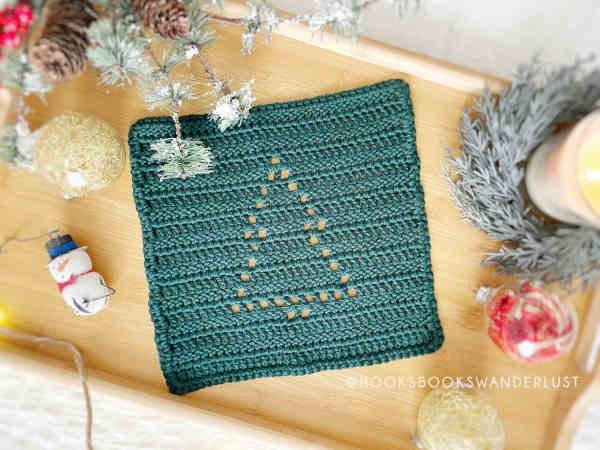 fir tree washcloth crochet gift idea