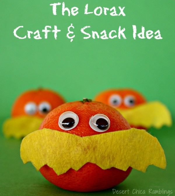 Lorax Craft and snack idea - perfect for Lorax, Seuss, and Earth Day partiies!