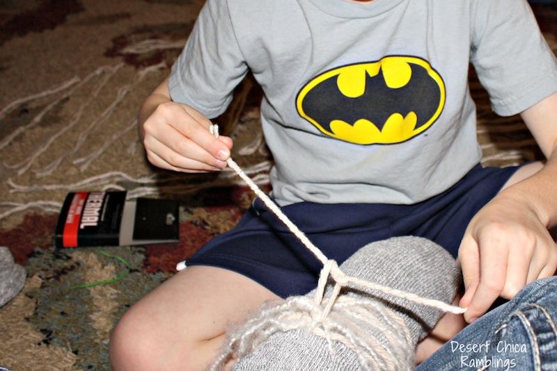 tie mop around yarn hobby stick horse