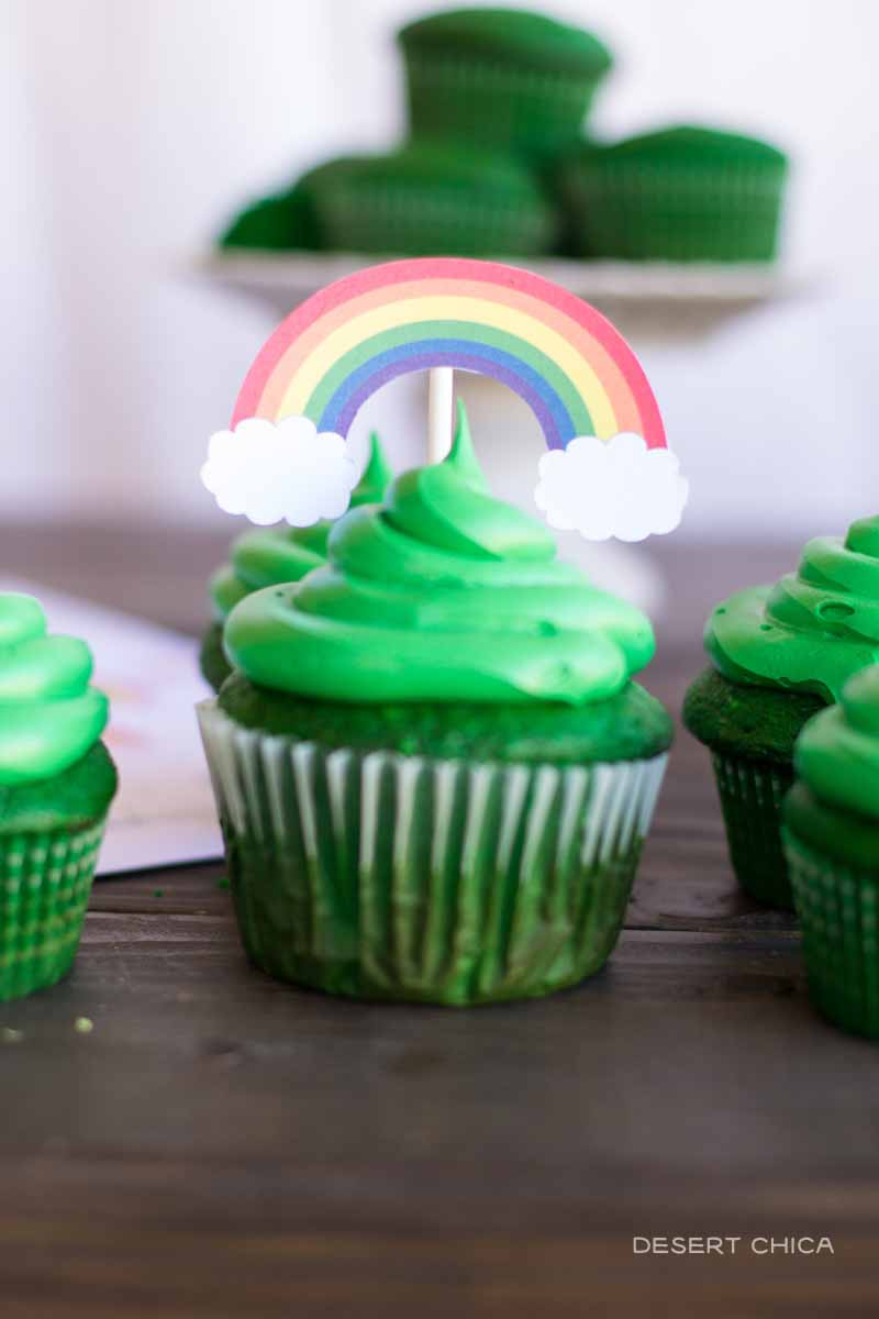 Rainbows hint at the treasure hidden inside these magically delicious St. Patrick's Day cupcakes
