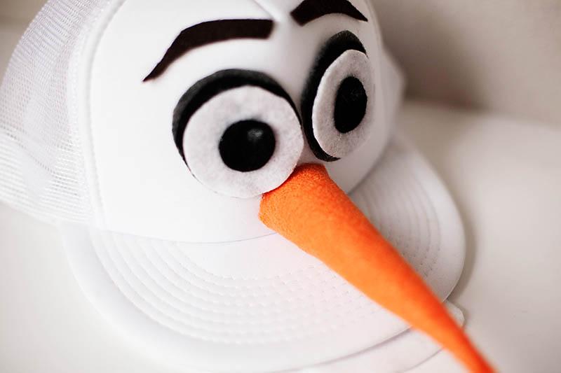 Olaf Costume Ideas include this DIY Olaf hat