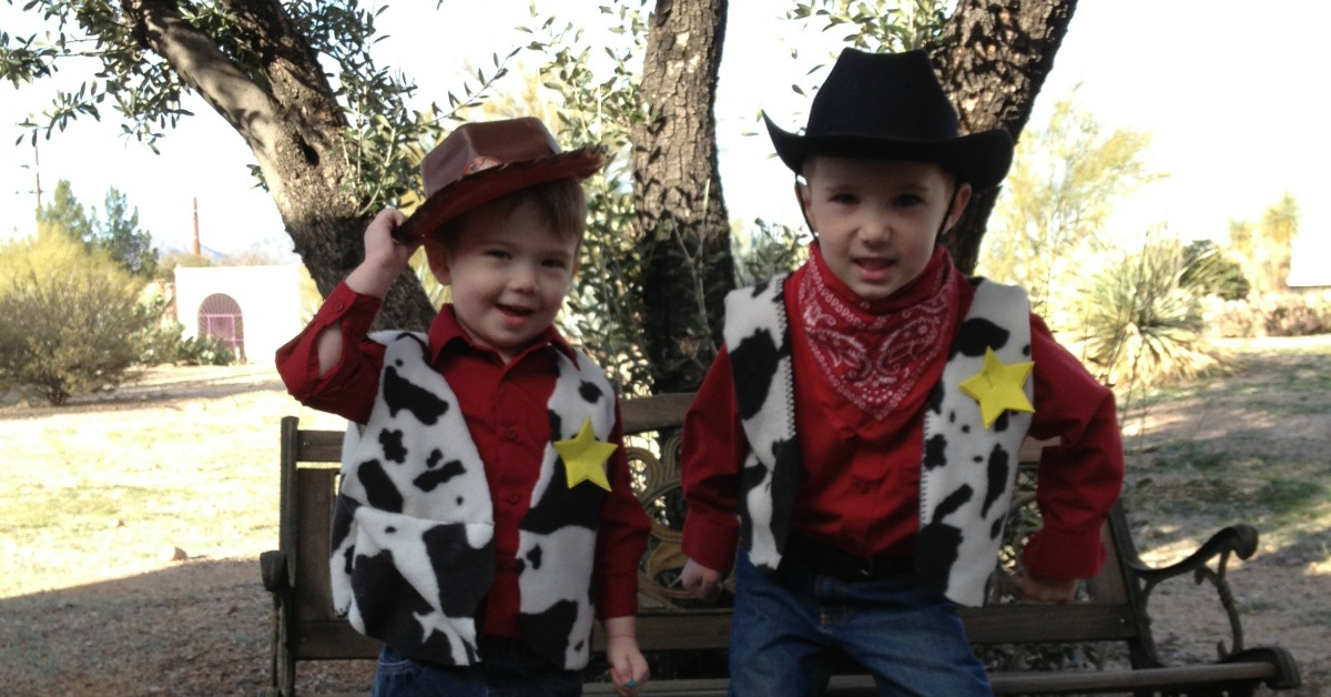 Easy homemade cowboy woody vest for a no sew cowboy woody costume or rodeo days outfit
