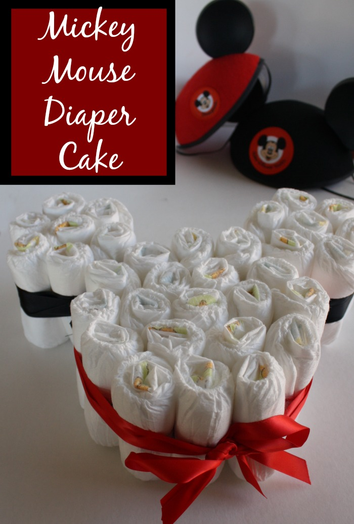 Easy Mickey Mouse Diaper Cake perfect for a Disney themed shower!