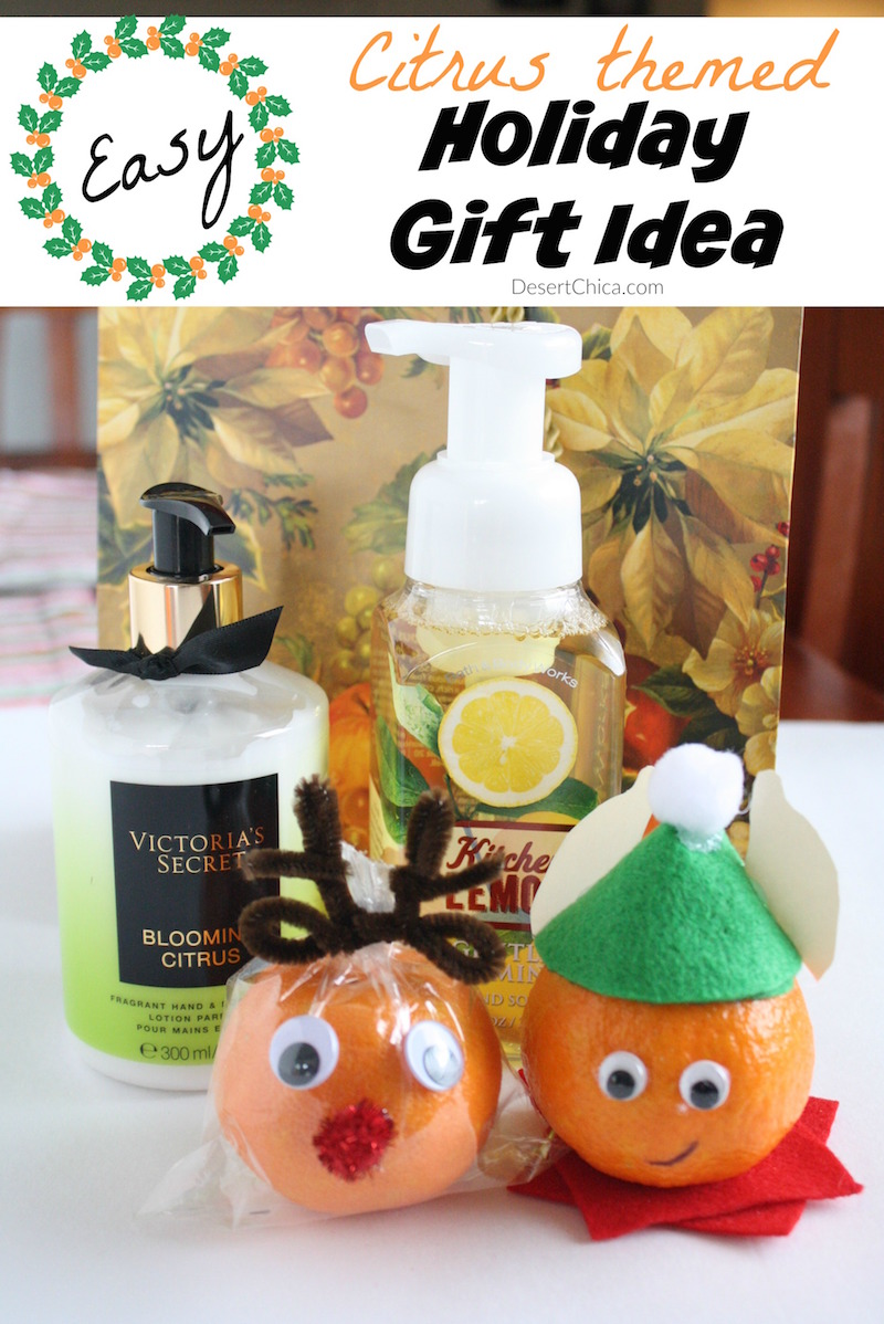 Make a reindeer or elf using an orange and add them to a cute holiday citrus themed gift