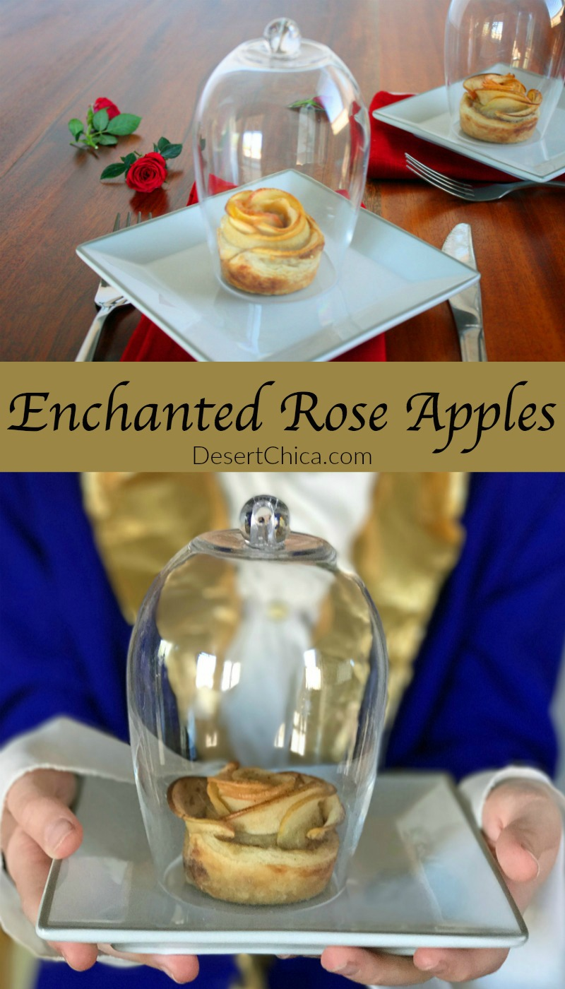 The best beauty and the beast party idea! Make enchanted rose apple tarts to serve to your guests, each in their own bell jar.