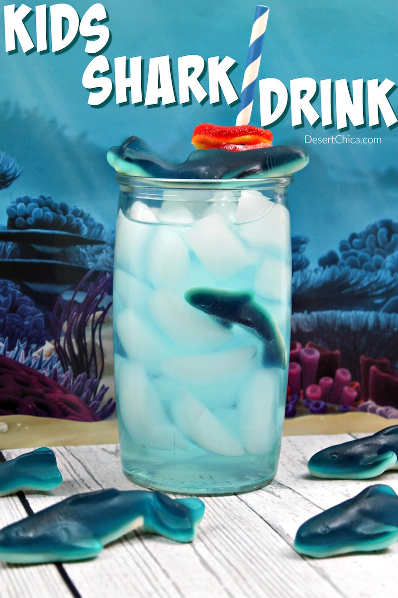 Try making this fun kids shark drink to enjoy while watching all the shark action during shark week. It's also perfect for a shark party or ocean party.