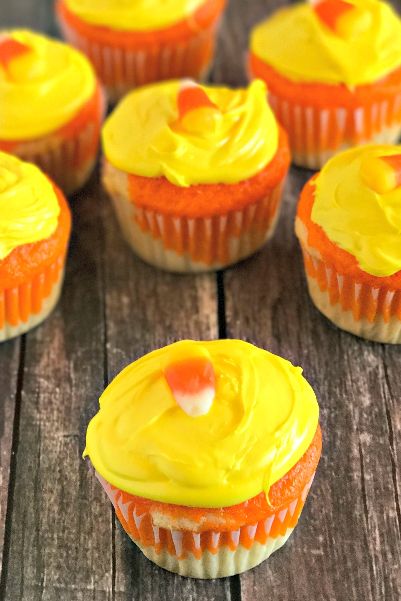 Candy corn cupcakes are an easy dessert to make for a candy corn party.