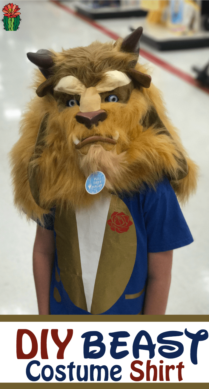 This easy Beast costume starts with a DIY Beast costume shirt, then add a mask. The Beast shirt is also a great way to Disneybound at Walt Disney World.