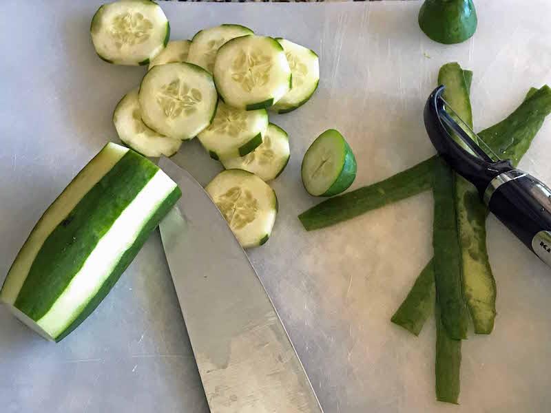 Prep cucumbers for turkey veggie tray
