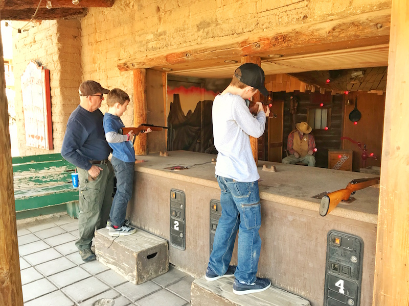 Shooting gallery at Old Tucson Studios with Kids