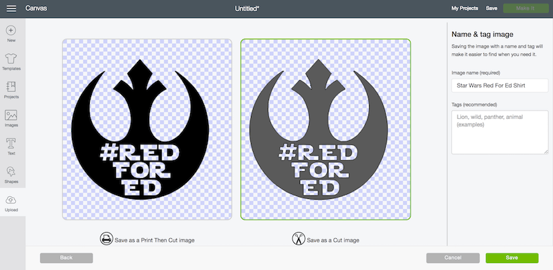 Save image as a cut image when uploading your own iron on vinyl design image in Cricut Design Space