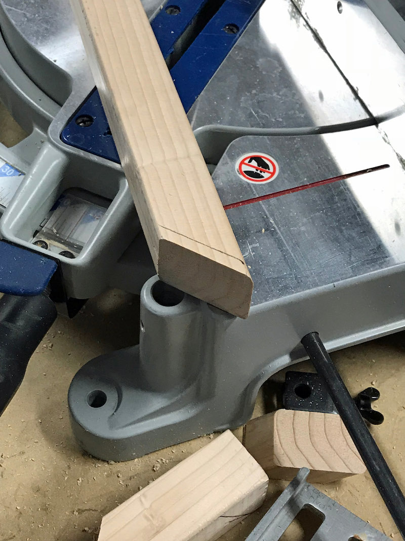 Use saw miter to create 45 degree angle for ikea kura bed tent hack