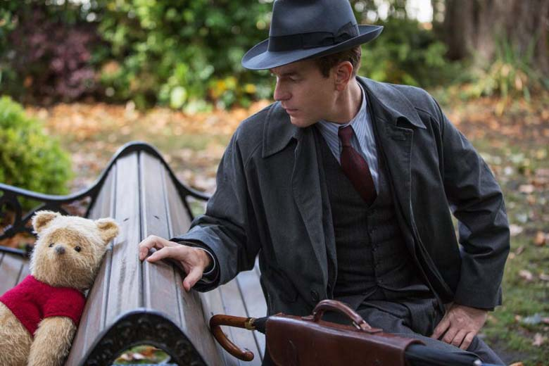 Christopher Robin and Winnie the Pooh in the new Live Action movie Christopher Robin