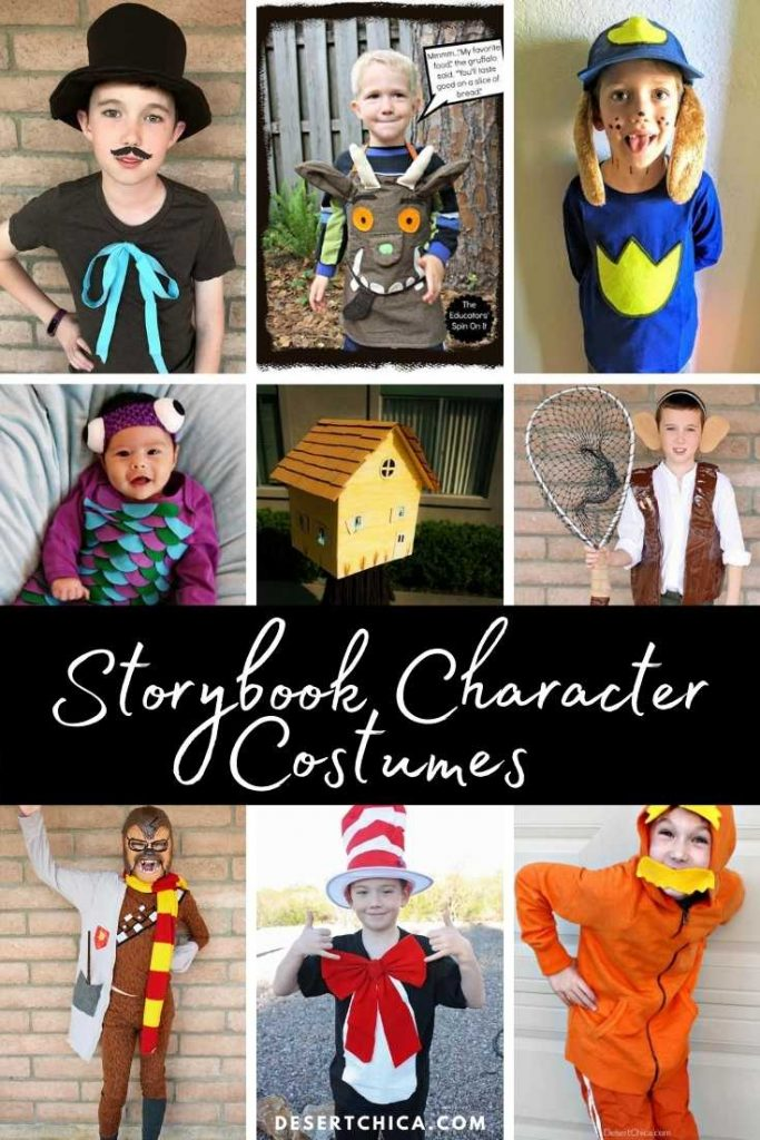 variety of book character costume ideas pictured