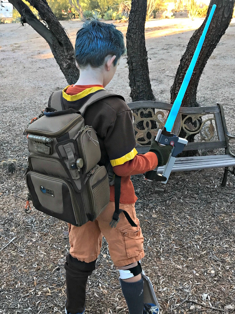 Ezra Bridger Costume Accessories including backpack, blue hair and lightsaber blaster