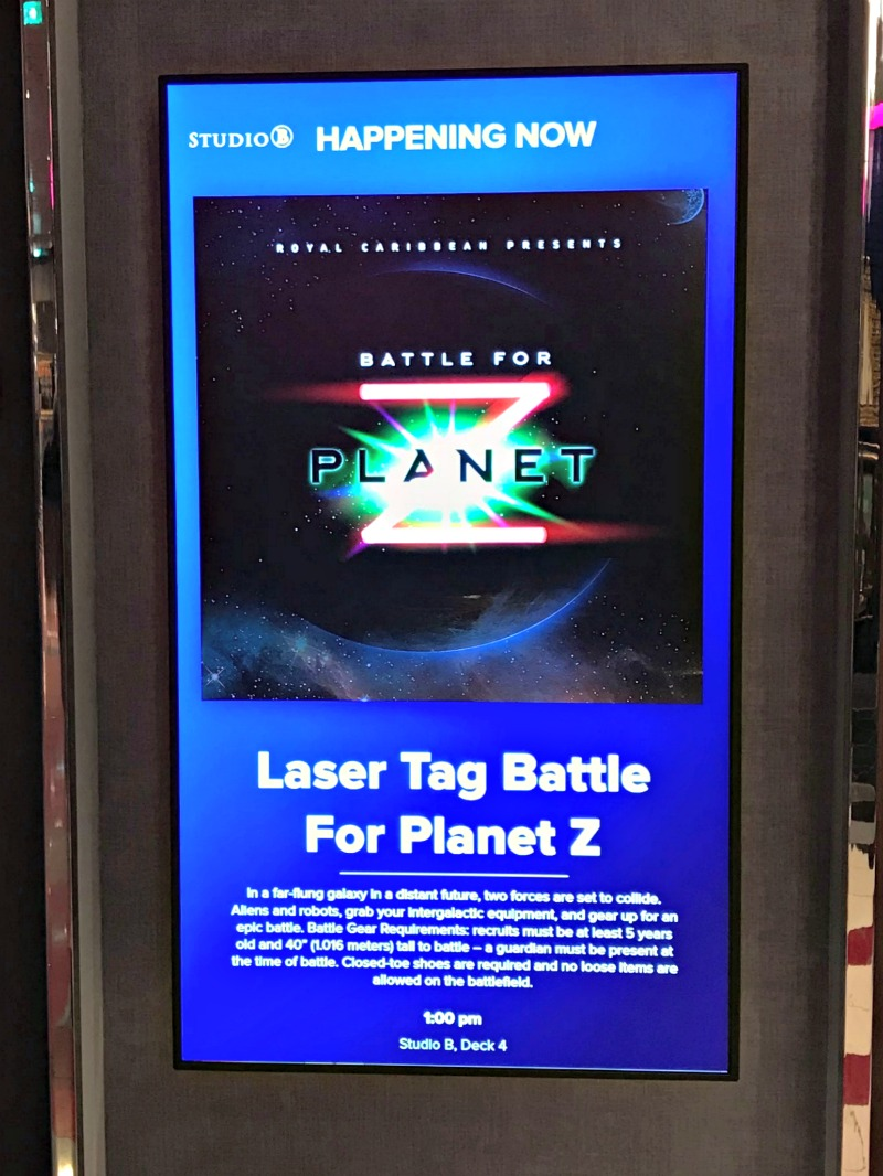 Battle for Planet Z Laser Tag on Royal Caribbean Symphony of the Seas Cruise Ship