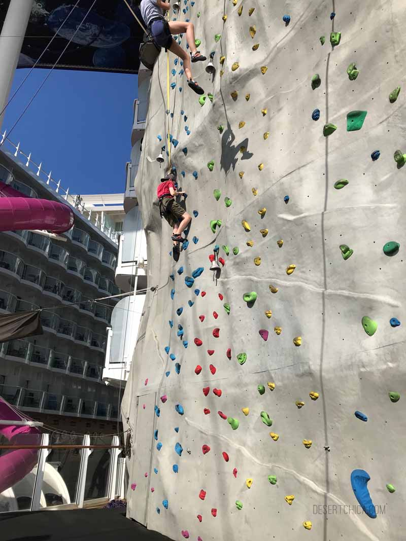Rock Climbing on on Royal Caribbean Symphony of the Seas cruise ship. It is one of the amazing tween friendly activities aboard the largest cruise ship in the world.