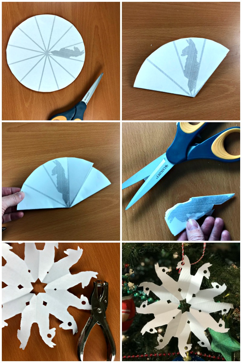 Score cool points with your kids and print this snowflake pattern to make your own DIY Fortnite llama snowflakes. This snowflake craft is fun for kid or adults who love to play video games and makes a great activity over winter break. Paper Snowflakes | Winter Crafts for kids | Snowflakes DIY | Snowflake Template | Snowflake Crafts for kids