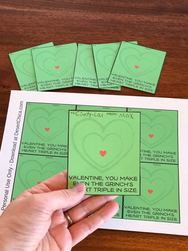 Free printable Grinch Valentine's Day cards