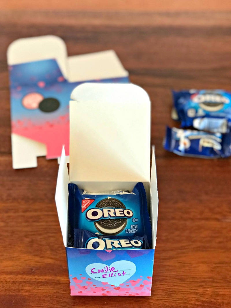 Put together Valentine's Exchange Boxes and fill with Oreo Cookie and chocolate bar