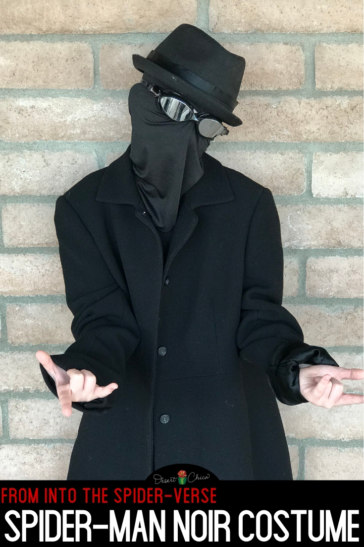 Looking for a DIY Spiderman Noir costume from into the Spiderverse? This homemade spider-man suit is perfect for boys and for girls for Halloween or any other cosplay event. Learn how to make this easy no-sew costume using regular items. Spiderman Noir | Spider Man Moir | Spider Man into the Spiderverse | Spider-Man Noir