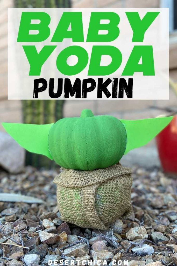 pumpkin decorated to look like baby yoda from The Mandalorian TV show