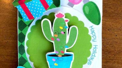 holiday themed cactus card to make at home