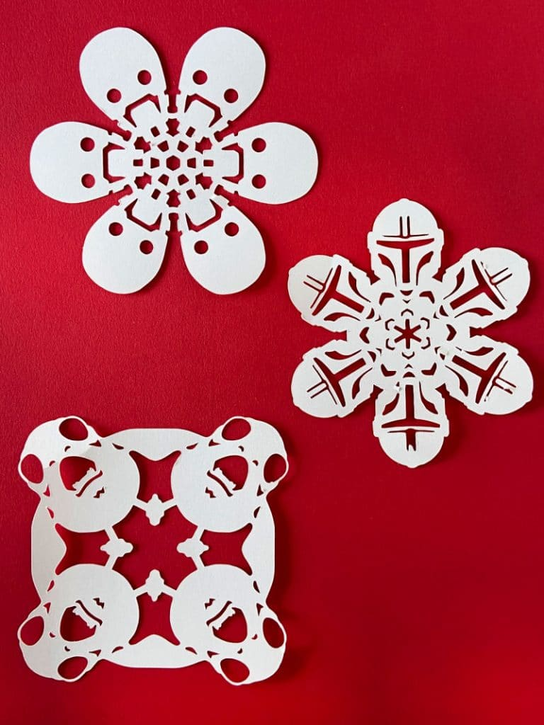 3 different Star Wars Snowflakes designs