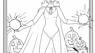 Coloring sheet featuring Wanda from WandaVision Halloween episode