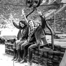 Union Pacific employees on the timber tram at the Widow Mine, Ryan, California - Courtesy National Park Service, Death Valley National Park