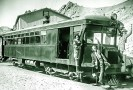 Union Pacific employees on the gasoline combination passenger and freight car on the DVRR in Ryan - Courtesy National Park Service, Death Valley National Park