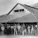 The line up for chow at the Company Boarding House 1910 at the Lila C Mine, Courtesy National Park Service, Death Valley National Park