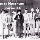 At Death Valley Junction, 1920: L to R: H.W. Faulkner, Mrs. Faulkner, Hoffman (T&T Fireman), ?,?, Agnes Connelly, ?, ?, Zobel (Chemist at DVJ), Clarence Rasor (Chief Eng., Pacific Coast Borax Co.), Courtesy National Park Service, Death Valley National Park