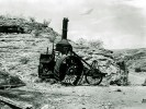 Old Dinah steam tractor built by Best of San Leandro, Calif. Cost $4,500 each, 250 pounds of coal per hour, 3.5 miles per hour. Used one year, Borate to Daggett 1901, then to Ivanpah. Broke down after 3 miles. In 1906 towed back to Ludlow and sold. - Courtesy National Park Service, Death Valley National Park