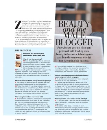 Pure Beauty Male Blogger Interview August 2017