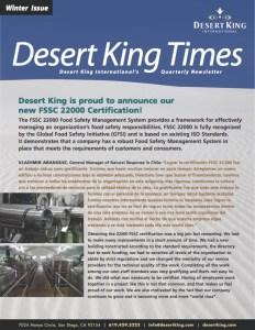 Desert King's Winter Newsletter 2015