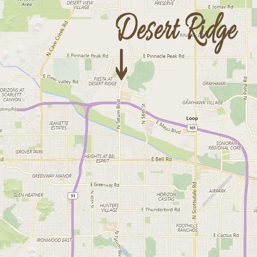 Map to Desert Ridge in Phoenix Arizona