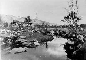 Manzanar water gardens, Ansel Adams 1943