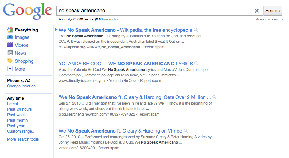 Google Strange Formatting of Search Results May 2011