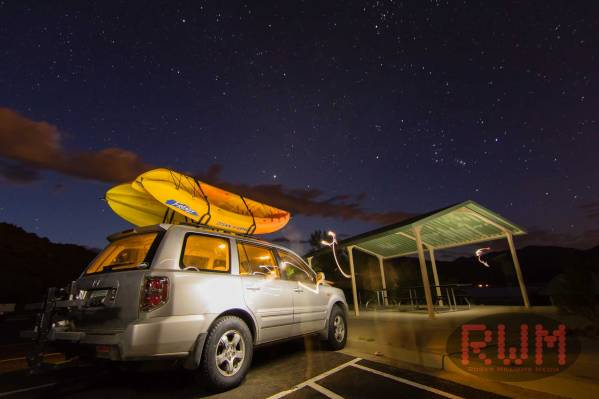 Honda Pilot at night to kayak bartlett lake